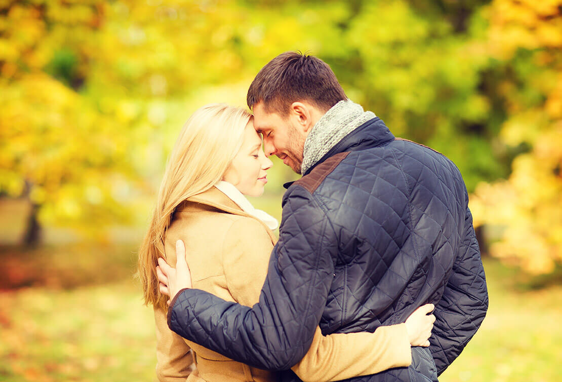 Romantic couple in autumn