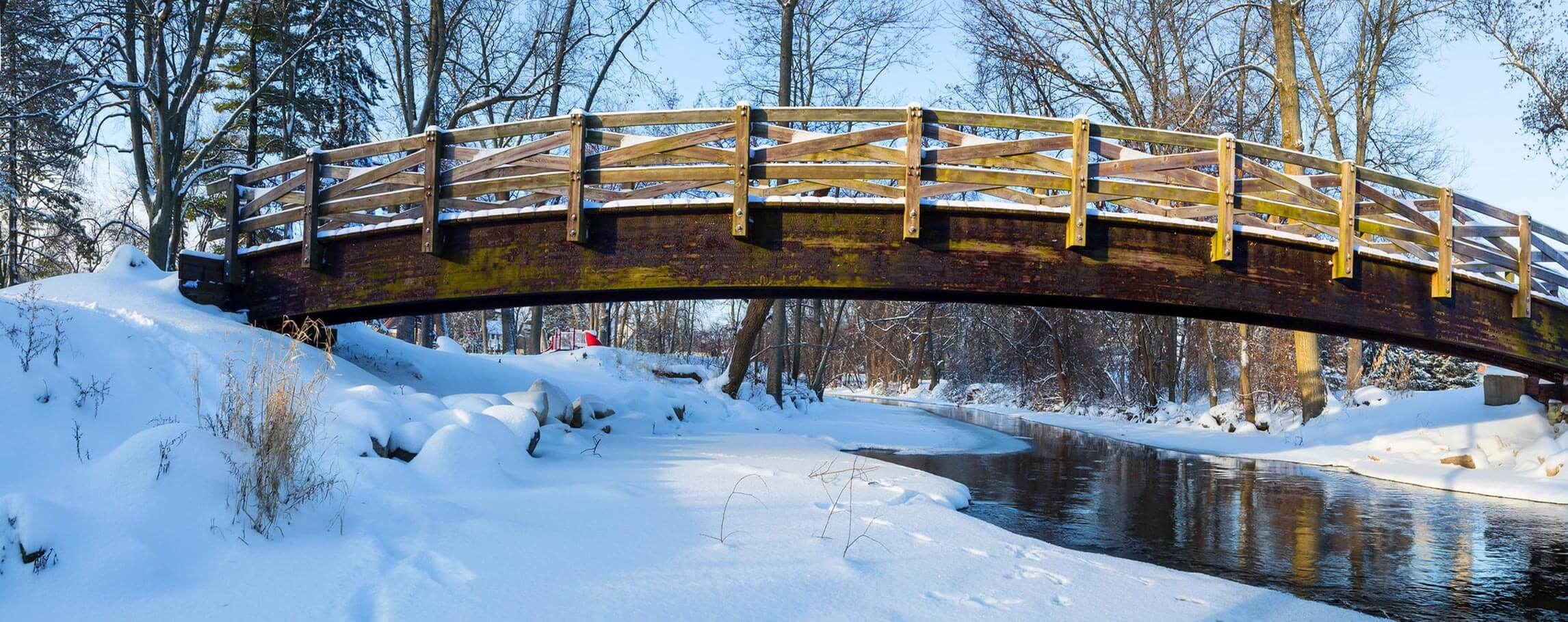 Winter bridge over the creek