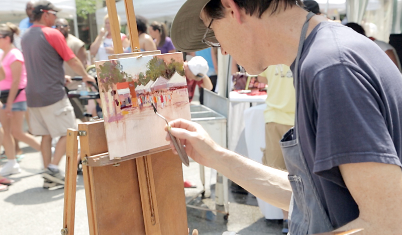 Cedarburg Plein Arts Festival - Man Painting Outside