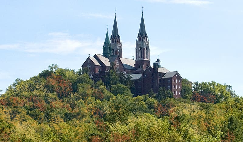 Holy Hill Basilica in Wisconsin surrounded by trees