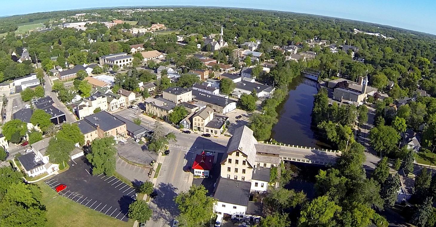 Aerial View of Cedarburg, WI