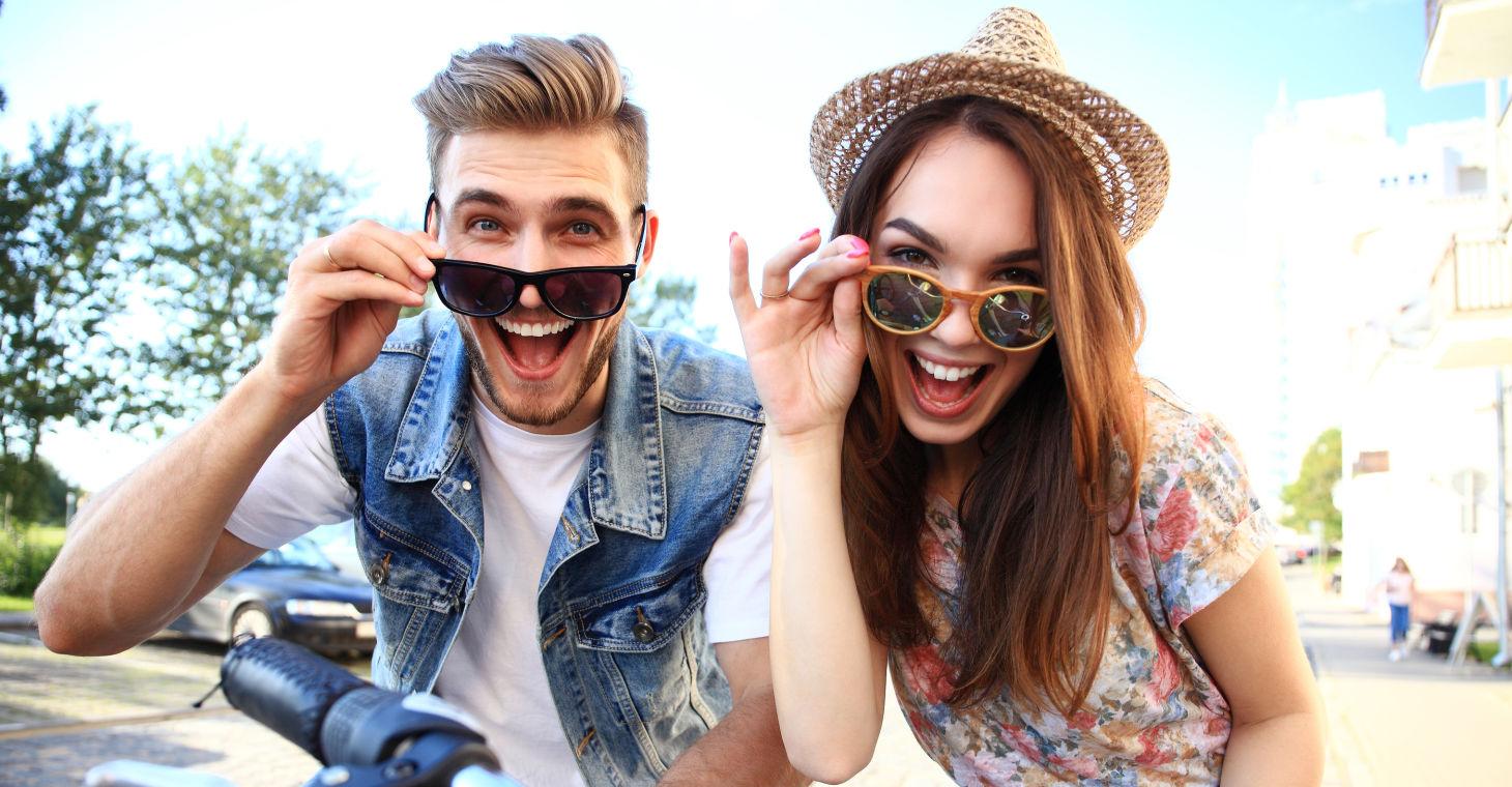 Wisconsin Biking - a couple wearing sunglasses and having fun