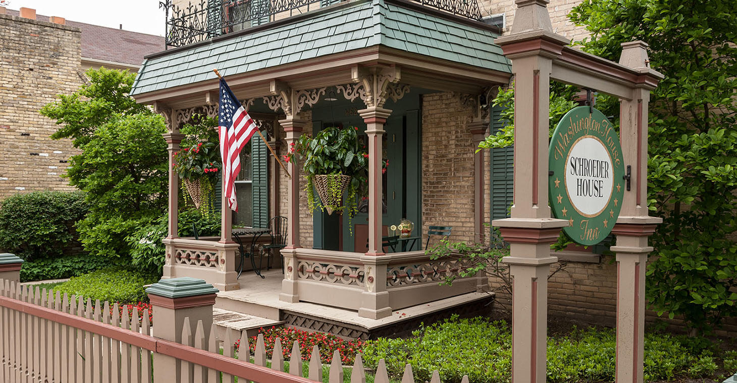 the exterior front porch of the Schroeder Guest House