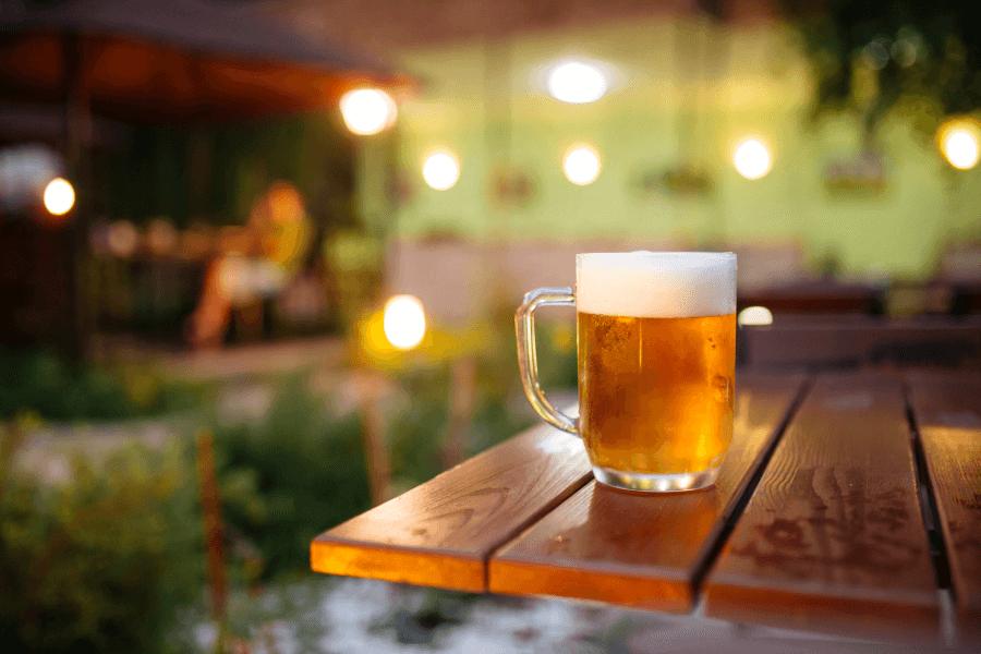 cold beer outside in Beer Garden
