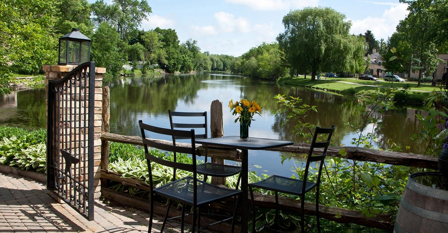 Table by the River in Cedarburg, Wisconsin