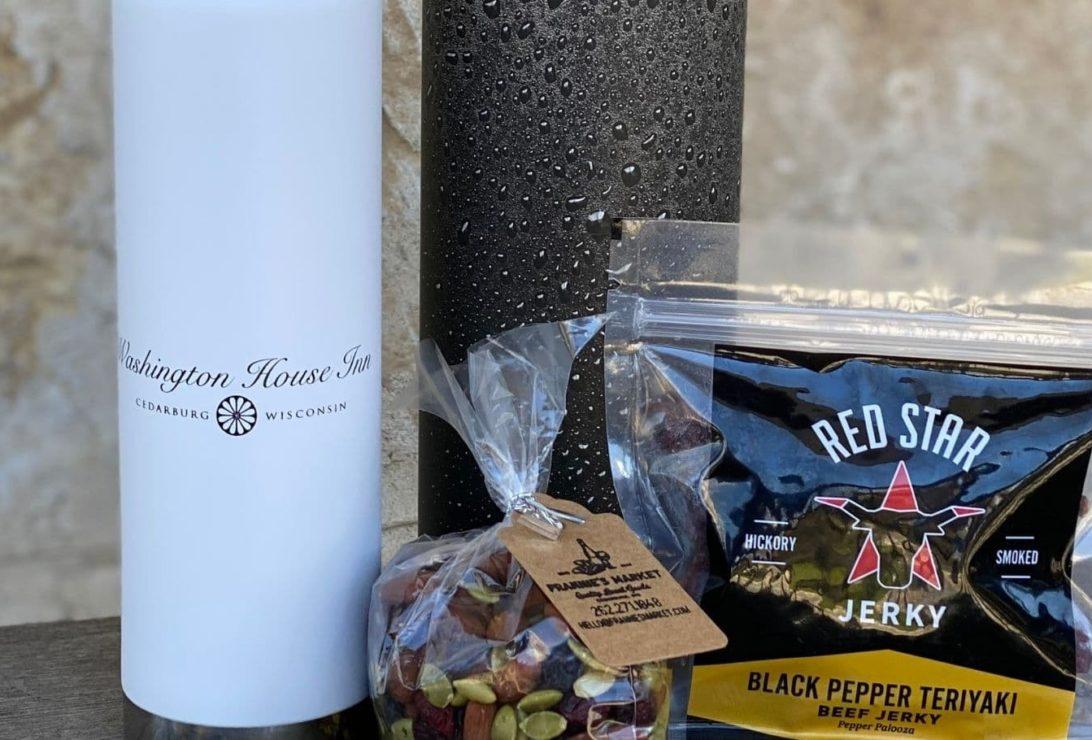 logoed water bottle, beef jerky and snacks